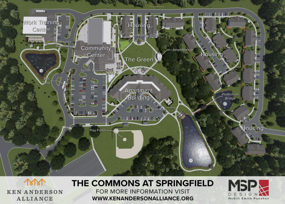 Aerial view of Ken Anderson Alliance Community Commons at Springfield
